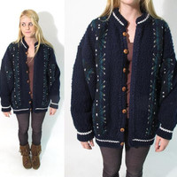 SALE. 25% OFF. 1970s Vintage Hand Knit Nordic Inspired Oversized Slouch Cardigan with Wooden Buttons.
