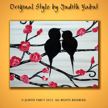 Hand Paint Love Birds Landscape Acrylic Painting on Canvas Wall Decor Wedding gift wall hangings Acrylic Fine Art by Judith Yabut