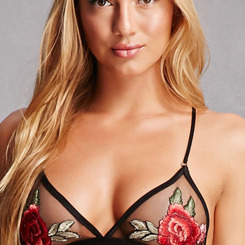 Embroidered Floral Mesh Bralette