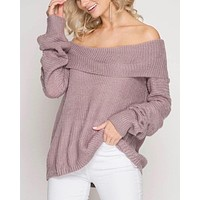 long sleeve off the shoulder sweater - dusty mauve