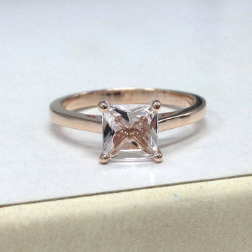 Morganite Engagement Ring 14K Rose Gold!5mm Princess Cut Morganite Solitaire Ring,Wedding Bridal Ring,Can make matching Band,Promise