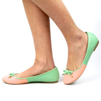 """Pam"" Color Block Ballet Flats - Pink/Mint"