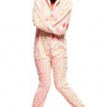 Hot Pink Pawz - Hooded Footed Pajamas - Pajamas Footie PJs Onesuits One Piece Adult Pajamas - JumpinJammerz.com
