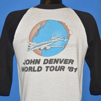 80s John Denver World Tour 1981 3/4 Sleeve Jersey t-shirt Small