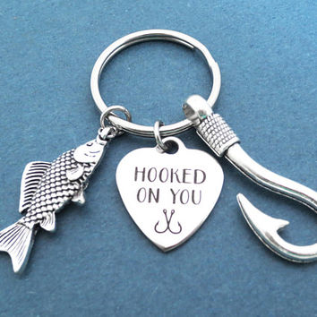 Hooked on you, Big fish and Hook, Heart, Key ring, Birthday, Lovers, Best friends, Valentine, Gift, Jewelry, Accessory