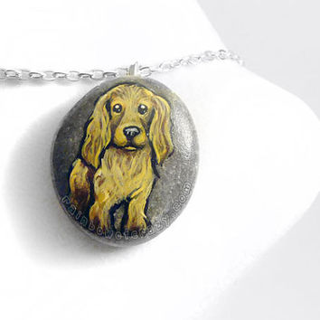 Cocker Spaniel Necklace, Dog Jewelry, Pet Portrait, Memorial Pendant, Dog Breed, Animal Painting, Brown Dog, Hand Painted Rock, Beach Stone