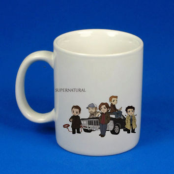 Supernatural cartoon custom mug, cup, funny mug , funny cup,, :)