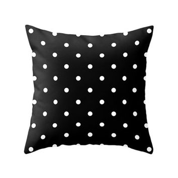 2 Black and White Color Options Polka Dots Pillows, Decorative Throw Pillow, Zipper Pillow Cover, Minimal Pattern Design Cushion, Home Decor