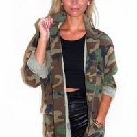 Vintage Oversized Military Jacket with Pocket & Button Front
