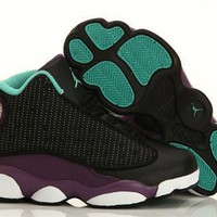 New Nike Air Jordan 13 Kids Shoes Black Purple Green