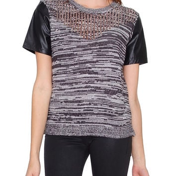 Cloudy Nights Short Sleeve Knit Top - Black/Charcoal