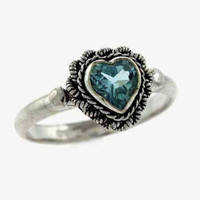Sterling Silver Blue Topaz Vintage Heart Ring Size 8