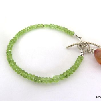 Peridot Gemstone Bracelet, August Birthstone Gift for Her