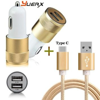 2-Port Smart USB Quick Car Charger + 3FT Type C USB Cable for Oneplus 3T 3/LG G5 V20 /Elephone P9000 M3/Sony Xperia XZ X Compact