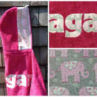 Girls Personalized Hooded Towel Raspberry Pink with elephants Beach Pool Bath Towel Kids Children Birthday Christmas Hanukkah Gift Idea