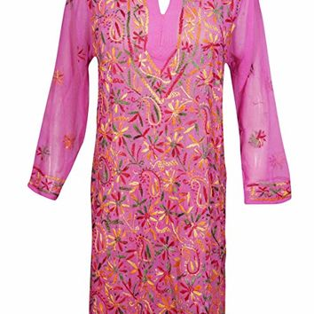 Mogul Interior Sloane Women's Sheer Tunic Georgette Hand Embroidered Cover up S/M/L (Baby,Pink): Amazon.ca: Clothing & Accessories