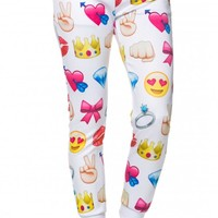 Emoji Fun Jogger Capris in White