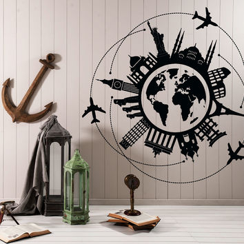 Wall Vinyl Decal Travel World Map Famous Places Eiffel Tower Airplane Home Decor Unique Gift z4409
