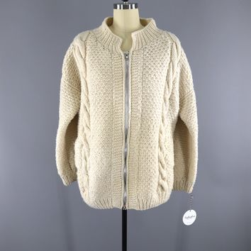 1970s Vintage Wool Cardigan Sweater / Ivory Zip Front / Native Hands