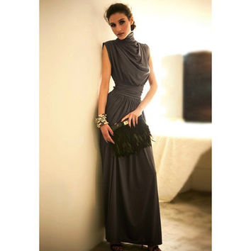 Deep Gray Elastic Waist Ruffled Maxi Dress