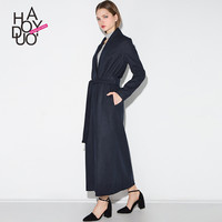Haoduoyi Navy style Double breasted Outwear Coats Slim Wool Blens women Trench