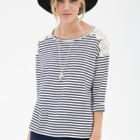 Striped Lace-Paneled Top