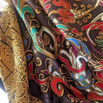 DCCKWA2 YSL YVES SAINT LAURENT women's Scarf Floral Silk Multi color Brown Gold foulard