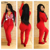 Fashion Design Red Christmas Print Rompers 2016 Autumn Winter Women Jumpsuit One Piece Outfits Hoody Casual  Tracksuit Overalls