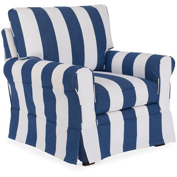 Emily Slipcovered Chair, White/Blue, Club Chairs
