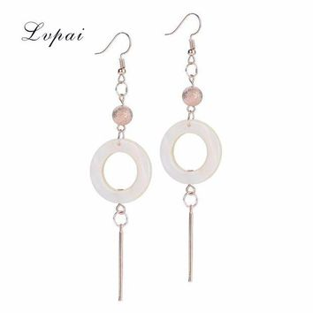 DCCKJY1 2017 Women's Elegant Shell Geometric Drop Dangle Long with White round Chain Earrings Delicate Arrival new #py30
