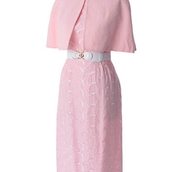 50's Pink Embroidered Sateen Pencil Dress and Capelet