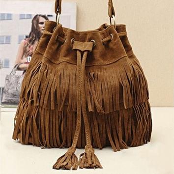 Womens Hot Popular Faux Suede Fringe Tassel Shoulder Bag Handbags Messenger Bag [10198319815]