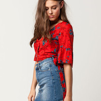 HONEY PUNCH Kimono Wrap Womens Crop Top