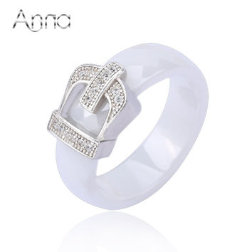 A&N Crown Ceramic Rings For Women With Crystal Stone Engagement Jewelry Rings Love Designer Black White Titanium Women's Rings