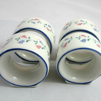 Bernarda Napkin Rings Set 4 Made in Portugal , Floral Ceramic Napkin Rings Blue and Pink Flowers with Blue Trim Vintage 80's Cottage Home