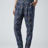 Mix Tile Print Jersey Tapered Trousers - Blue