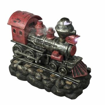 """27.5"""" LED Lighted Red and Black Vintage Locomotive Train Spring Outdoor Garden Water Fountain"""