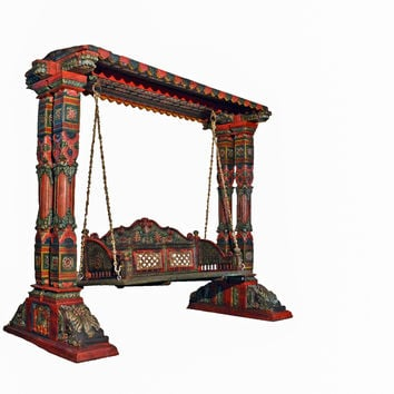 Two Pillar Design Painted Wooden Carved Royal Swing Set / Indoor Jhula