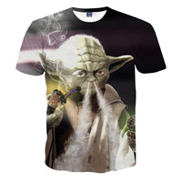 Star WarsT shirt Yoda smoking weed pipe t-shirt Short Sleeves Crew Neck Street W