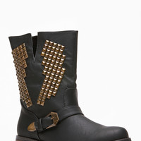 Black Faux Leather Electric Pyramid Stud Riding Boots