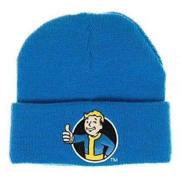 Blue Fallout Vault Boy Single Layer Cuff Beanie by BioWorld
