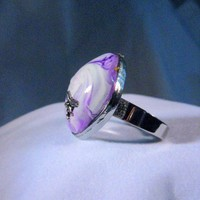 Purple Swirl and Dragonfly Adjustable Rings Polymer Clay