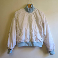 Ralph Lauren Sport Jacket White Light Blue Jacket Womens Sport Jacket Womens Vintage Windbreaker Ladies Jacket Medium Size