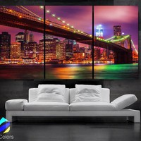 "LARGE 30""x 60"" 3 Panels Art Canvas Print Beautiful Brooklyn bridge New York City NY Wall Home (Included framed 1.5"" depth)"