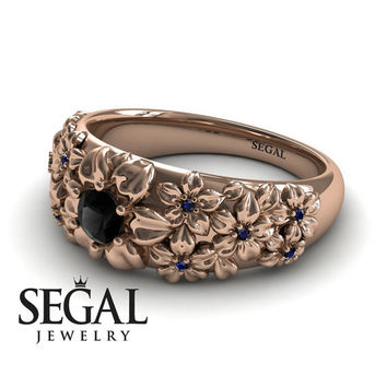 Unique Engagement Ring Diamond ring 14K Red Gold Flowers Vintage Antique Ring Black Diamond With Sapphire - Violet