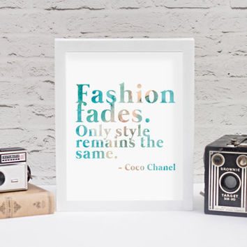 Coco Chanel 8x10 Quote Print // Watercolor Print // Fashion Print // Fashion Decor // Coco Chanel