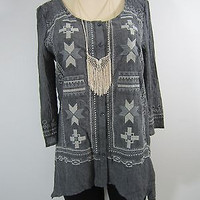 Monoreno Navajo Embroidered Button Up Top-Charcoal
