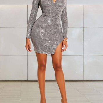 New Silver Patchwork Sequin Bodycon Cut Out Side Slits Long Sleeve Round Neck Party Elegant Mini Dress