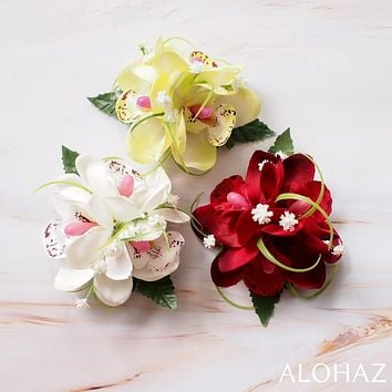 Red Orchid Wonder Hawaiian Flower Hair Clip