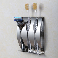 Stainless steel wall mount toothbrush holder 3 position